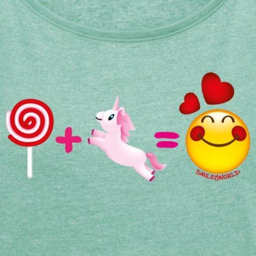 Smiley-World-Sucette-Licorne-Amoureux-T-shirt-Femme--manches-retrousses-de-Spreadshirt