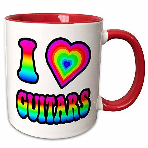Dooni Designs - Groovy I Heart Love Designs - Groovy Hippie Rainbow I Heart Love Guitars - 11oz Two-Tone Red Mug (mug_217437_5) (Hippy Guitar Pic compare prices)