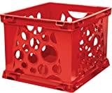 Storex Mini Stackable Storage Crate, 9 X 7-3/4 X 6.375 in, Red