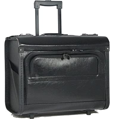 "Falcon FI2344L Leather 17"" laptop / notebook wheeled trolley cabin / pilot case by Falcon"