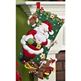BUCILLA Santa and Teddy Bear Felt Applique Stocking Kit, 18-Inch