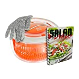 PrimeCuts Salad Spinner - Premium Quality Large 5.2 Quarts Salad Spinner - Easy Spin Paddle Mechanism for Dry and Drain Lettuce and Vegetable for Fresh Salads FREE Cut Resistant Glove FREE EBook