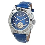 MG.Orkina Marine Blue Leather Mens Chronograph Wrist Watch