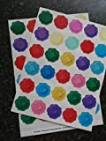 60 Mixed waterproof envelope stickers Butterflies Tudor Roses and lucky Horseshoe wax seal effect