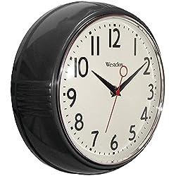 Westclox 32042BK 1950's Retro Black Case Convex Glass Clock, 9.5-Inch