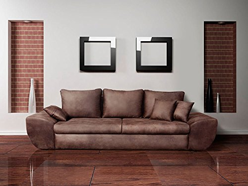 Big Sofa mit Schlaffunktion und Bettkasten im Vintage Look braun . Rückenecht bezogen mit Wellenfederpolsterung, Maße: B/H/T ca. 272/90/96 cm thumbnail