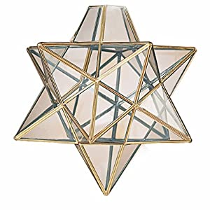 Moravian Star Clear Glass Antique Brass Ceiling Light Shade Pendant by Dove Mill Lighting