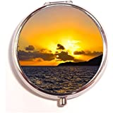 Golden Sunset Above The Ocean Round Fashion Pill Box Medicine Tablet Holder Organizer Case For Pocket Or Purse
