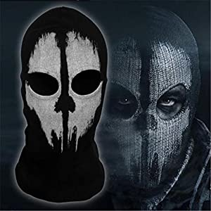 Adult Skull Face Ghost Mask Ski Hood Large USA Made 100% Cotton Black Balaclava from Sports and AUTO Magic Mask