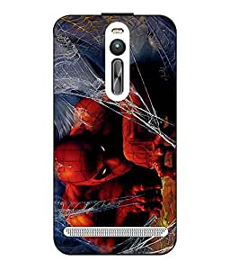 Case Cover Spider Man Printed Red Hard Back Cover For Asus Zenfone 2