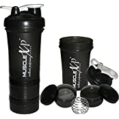 MuscleXP AdvancedStak Protein Shaker For Professionals (Black & White) With Steel Ball - Design 11