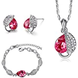 Mondaynoon Swarovski Elements Austrian Clear Crystal Miss You Jewelry Set, Leaf Match Drop Pendant Necklace, Twinkle Connect Bracelets and Leaf Snuggle up to Teardrop Shaped Earrings for Elegant Women Mom Girl