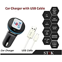 SToK 2.1 Amp Output With Dual USB Compatible Certified Car Charger For Apple IPhone, Samsung, Micromax, HTC, Nokia...