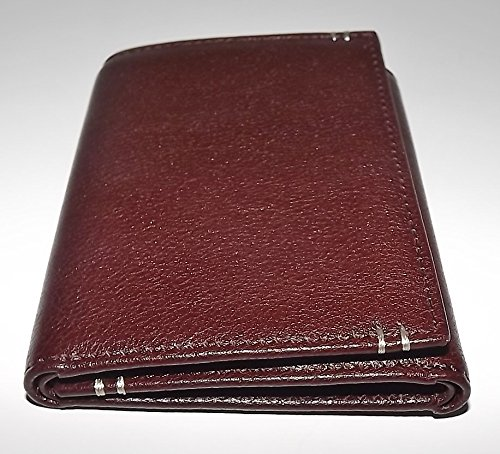 Lodis Men'S Leather Trifold Credit Card Wallet With Interior Id Window Dark Brown