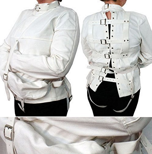 NEW! White Asylum Patient Straight Jacket Halloween Costume Unisex SM LXL Armbinder I (LARGE/X-LARGE, (Madeline Costume For Adults)
