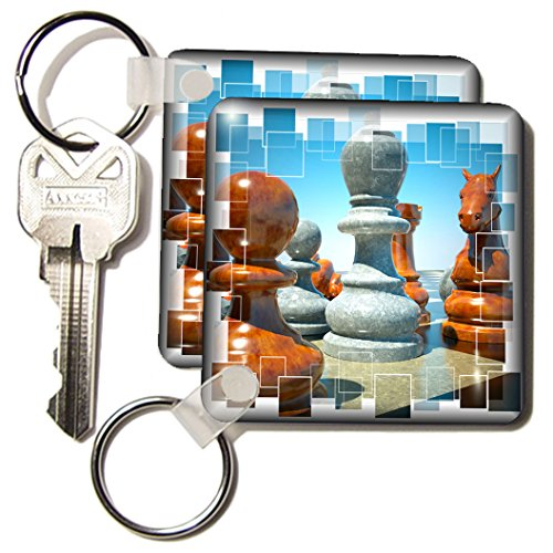 Susan Brown Designs General Themes - Chess Battle - Key Chains - set of 2 Key Chains (kc_34038_1)