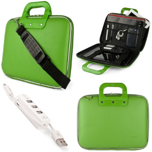 Green Sumaclife Cady Semi Hard Case W/ Shoulder Strap For Asus K52 Series 15.6-Inch Notebook + Kallin Universal 3 Port Usb Hub With Micro Usb Charger Cable