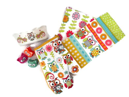 Owl Ruffled Loaf Pan (1), Owl Oven Mitt (1), Owl Retro Flower Dish Towels (2), Owl Chip Clip (3) - Yellow