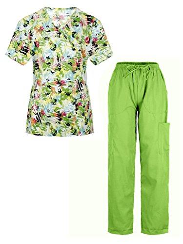 G Med Women's Printed Mock Wrap Top and Pant 2 PC Scrub Set(SET-MED,LGNA7-L)