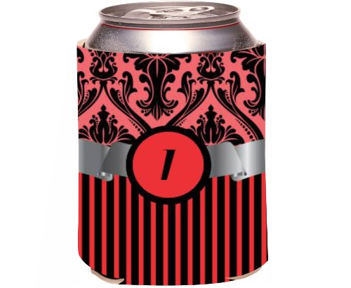 "Rikki Knight Beer Can Soda Drinks Cooler Koozie, Letter ""I"" Initial Monogrammed Design, Damask And Stripes, Red front-663763"