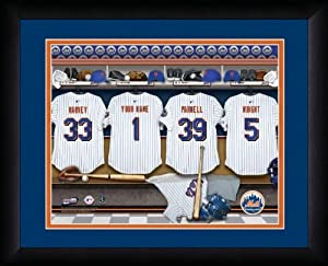 MLB Personalized Locker Room Print Black Frame Customized New York Mets 13 X 16 by You