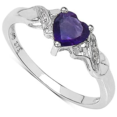 The Diamond Ring Collection: 9ct White Gold Heart Shaped Amethyst with Diamond Set Shoulders Engagement Ring