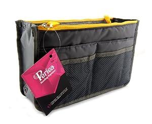 Periea - Sac de rangement/Pochette/Organisateur intérieur pour sac à main , 12 Grandes poches 28x17.5x12cm - Chelsy slate gris