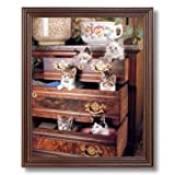 Kitty Cat Kittens Playing Kids Room Animal Home Decor Wall Picture Cherry Framed Art Print