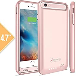 iPhone 6 / 6S Battery Case, Alpatronix BX140 (4.7-inch) MFi Certified 3100mAh External Removable Rechargeable Protective Portable Charging Case [iOS 10 Support / Juice Bank & Power Pack] - (Rose Gold)