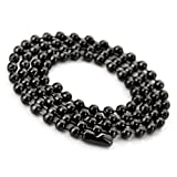 Justeel Men Stainless Steel Necklace Chain Black Beads Link 4.0mm Wide 17 Inch (with Gift Bag) (Width: 0.16