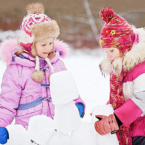 Chakka Snowblokka Waterproof Stay On Nylon Kid's Snow Mittens with Extra Long Sleeve - Black Small