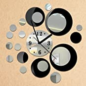 Toprate Removable Diy Acrylic 3D Mirror Wall Sticker Decorative Clock, Black And Silver