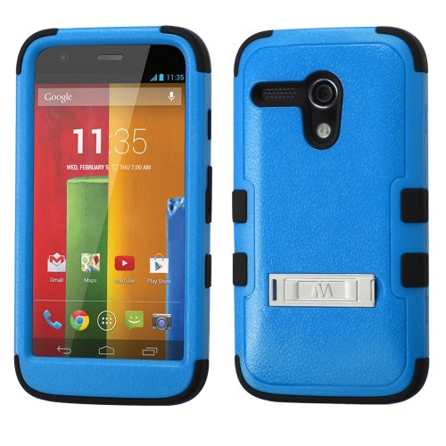 Thousand Eight(Tm) For Motorola Moto G Heavy Duty Defender Tuff Hybrid Hard Case With Stand Case + [Free Lcd Screen Protector Shield(Ultra Clear)+Touch Screen Stylus] (Hybrid Stand Blue/Black)