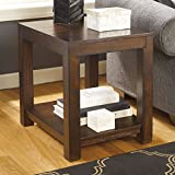 Ashley Furniture Signature Design Grinlyn Rectangular End Table, Rustic Brown