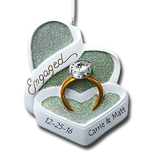 Personalized Engaged Heart Box with Wedding Ring Christmas Ornament with Name