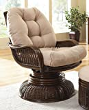 Hospitality Rattan Legacy Rattan & Wicker Swivel Rocker with Cushion - Antique