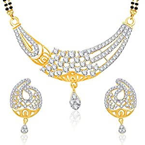 VK Jewels Virtuous Beauty Gold And Rhodium Plated Mangalsutra pendant set with Earrings-MP1171G [VKMP1171G]