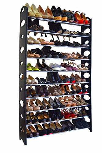 Mouse over image to zoom Details about 50 Pair 10 Tier Space Saving Storage Organizer Free Standing Shoe Tower Rack (Expresso Tower compare prices)