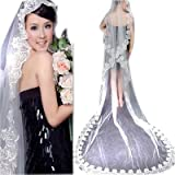 Loveshop 1t White Beautiful Fingertip Length Wedding Bridal Veil 3 Meters Long--white