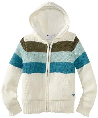 (2.9折)Roxy Cozy Chunky 7-16岁女生Seaspray Stripe连帽毛衣$17.41,