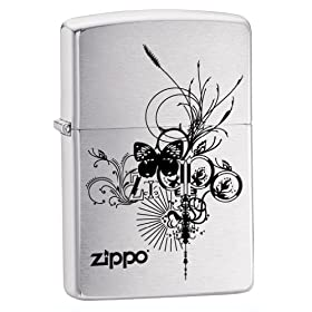 (超赞)Zippo Logo Pocket Lighter with Butterfly 芝宝蝴蝶图案打火机和LOGO $13.91
