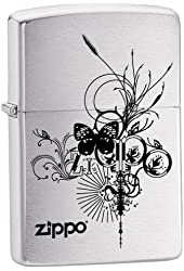 Zippo Logo Pocket Lighter with Butterfly