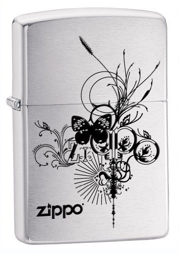 Zippo Logo Pocket Lighter with Butterfly Picture