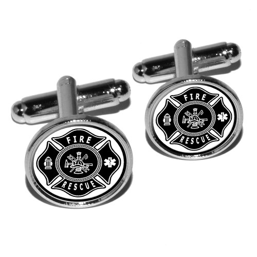 Firefighter Firemen Maltese Cross - Black Round Cufflink Set - Silver
