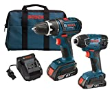 Bosch CLPK232-181 18-Volt Lithium-Ion 2-Tool Combo Kit with 1/2-Inch Compact Tough Drill/Driver, Impact Driver, 2 Batteries, Charger and Case