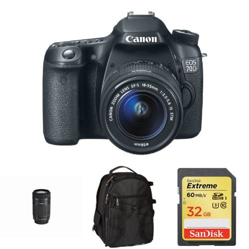 Canon Eos 70D With 18-55Mm Stm And 55-250Mm Stm Lens And Accessories Bundle