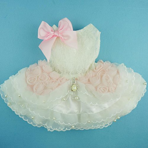 Fitwarm® High Quality Luxury Pink Rose Dog Wedding Dress Tutu Pet Bride Clothes Apparel, XX-small