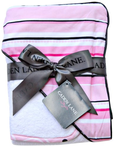 Caden Lane Luxe Collection Pinstripe Hooded Towel Set, Girl, Infant