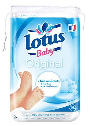 Lotus Baby Original Maxi Cotton Pads Double-Sided Square Cotton Pads - 70 Pack of 10