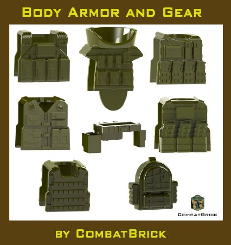 8 Custom Army Builder Toy Accessories – Body Armor and Gear pack in Military Green : Juggernaut EOD Suit, Special Forces Plate Carrier, Reversable Bulletproof vest with magazines, Hydration pack, Tactical SWAT Police Vest, Pistol Belt, Recon Assault Backpack lot